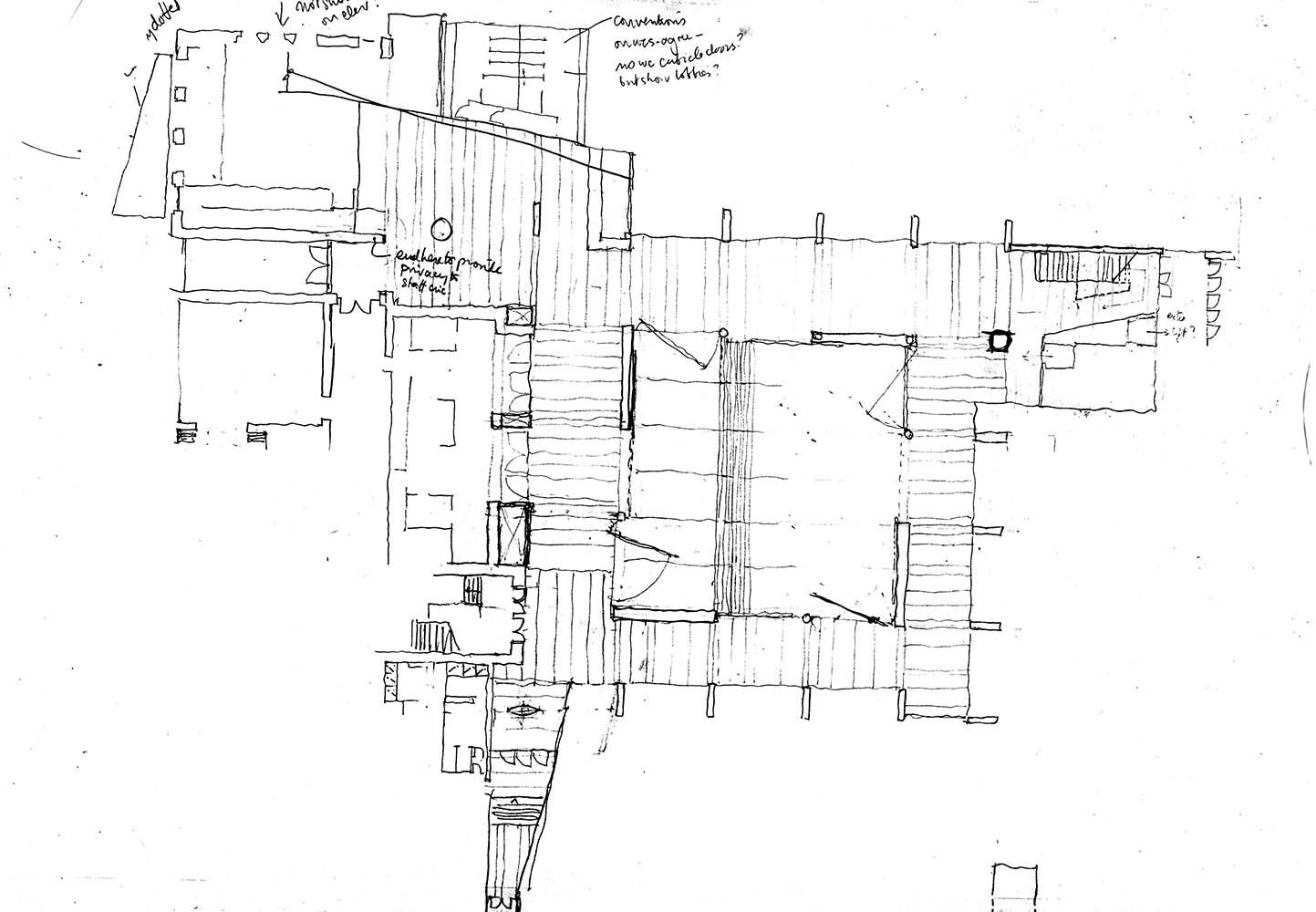 McCullough Mulvin Architects, planta, espacio centralizado.