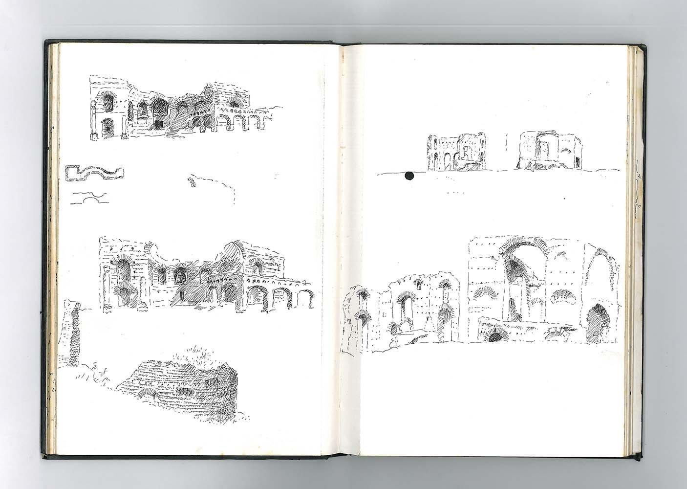 McCullough Mulvin Architects, 'ruina y arqueología', cuaderno de anotaciones.