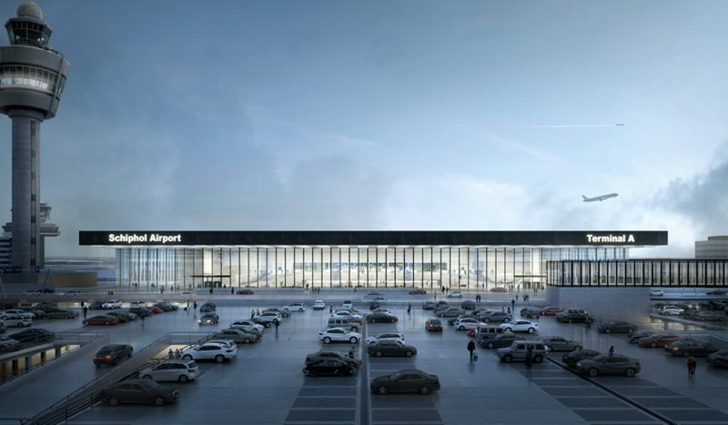 Exterior de la Nueva Terminal del Aeropuerto de Ámsterdam-Schiphol