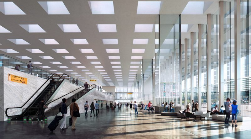 Interior de la Nueva Terminal del Aeropuerto de Ámsterdam-Schiphol