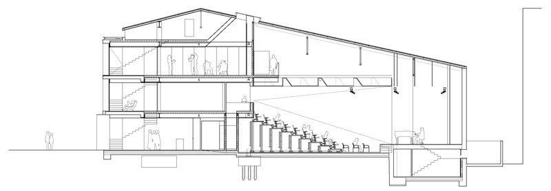 Sección de Centro Cívico Can Clariana Cultural-BCQ Arquitectes