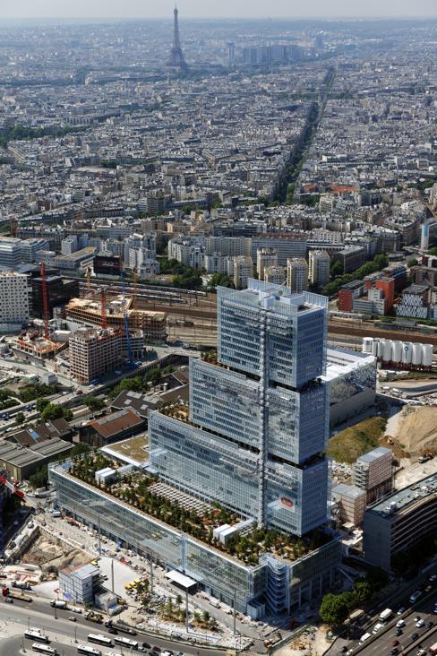 Vista aerea del Tribunal de París de Renzo Piano