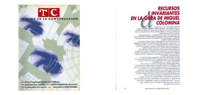 """Portada TC Tribuna de la Construcción nº 10 Artículo """"Recursos e invariantes en la obra de Miguel Colomina"""" de L. Carratalá"""