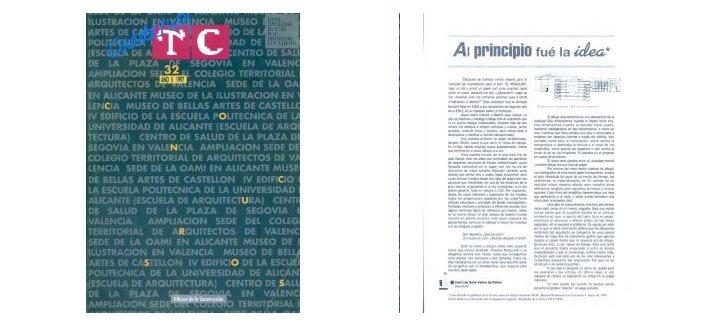 """Portada TC Cuadernos 32Artículo. """"Al principio fue la idea"""". J. L. Soler Valero de Palma"""