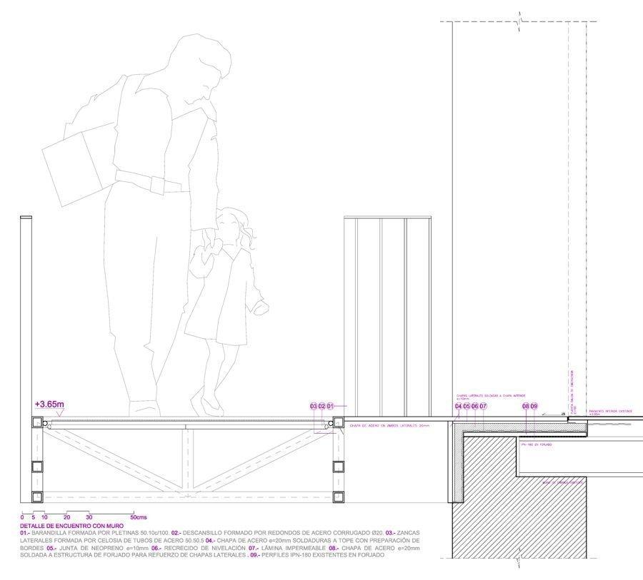 Detalle de encuentro con muro | MCVR Arquitectos