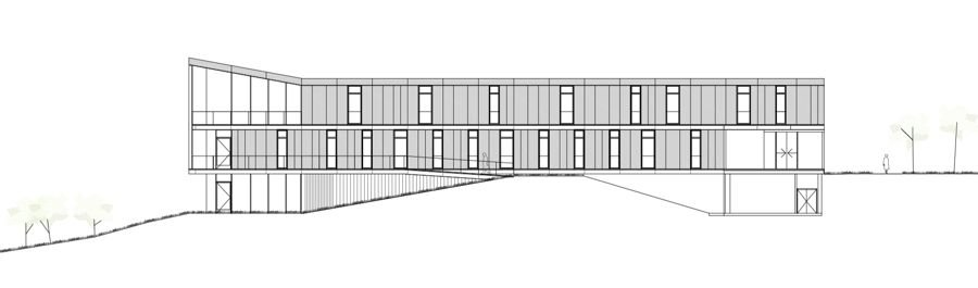Alzado norte de Edificio de Servicios Generales. Universidad San Jorge. IDOM