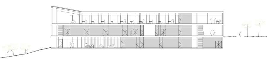 Sección longitudinal de Edificio de Servicios Generales. Universidad San Jorge. IDOM