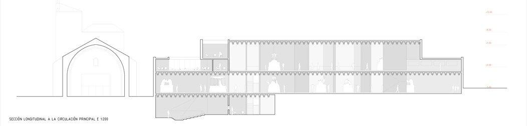 Museo Semana Santa Zamora_Matos Castillo arquitectos + EXtudio_Sección Longitudinal