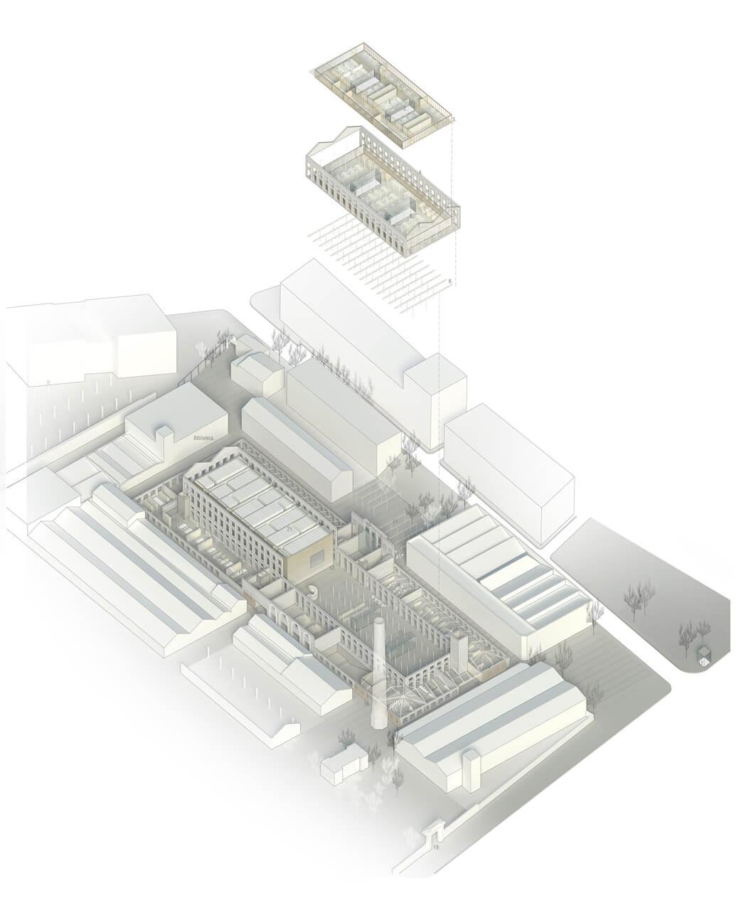 Axonometría Can Batllo- Proyecto AGORA