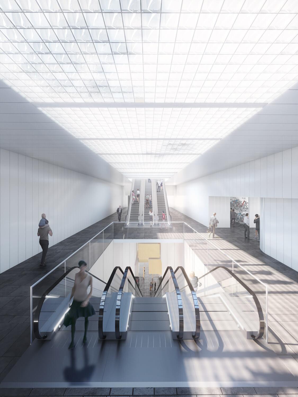 estacion metro oslo tunel escaleras